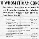 Sumpter area miners union wage scale in 1903